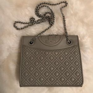 TORY BURCH Fleming Medium Bag in French Gray Color